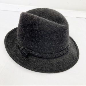 Vintage black grey fur felt fedora braided beaver